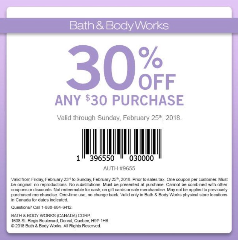 Bath and body works coupon code 30