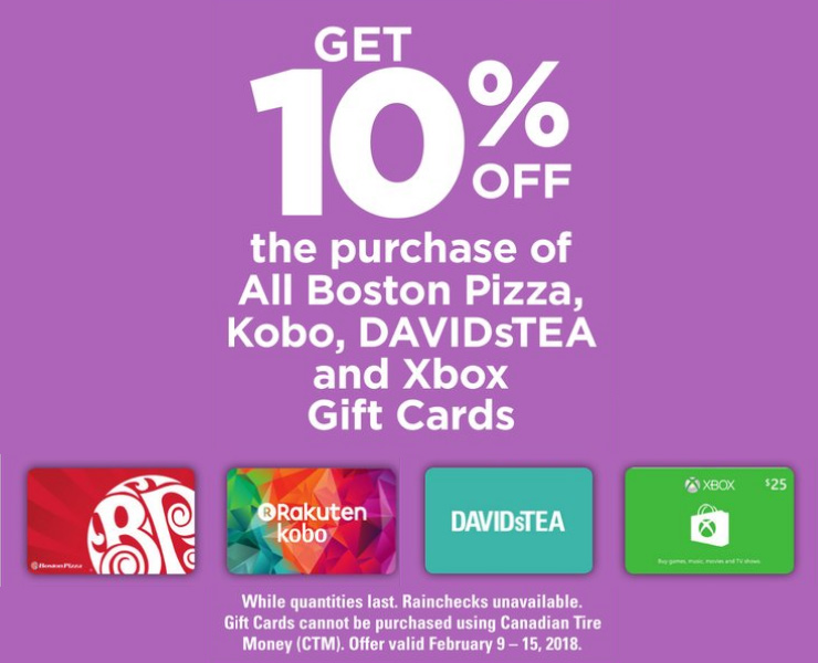 Canadian Tire: Save 10% on Boston Pizza, DAVIDsTEA, Kobo and Xbox Gift Cards Starting Friday