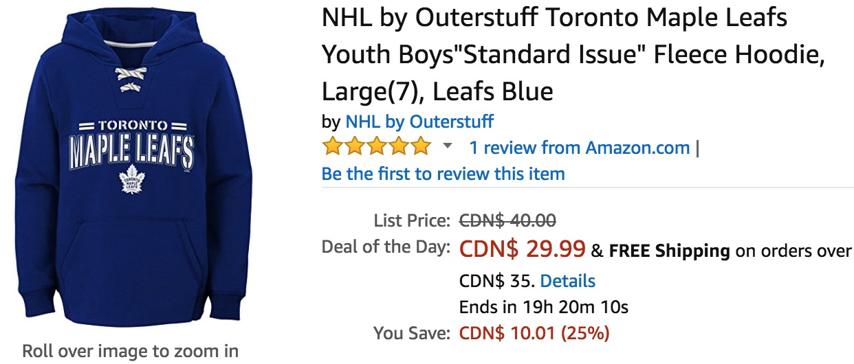 Amazon Canada Valentine s Deals Of The Day  Save 25% on NHL by Outerstuff  Toronto Maple Leafs Youth Boys   More 5b2c8f394