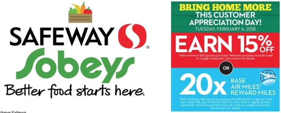 Sobey's & Safeway Customer Appreciation Day: *Today* Save 15% off or 20X Air Miles