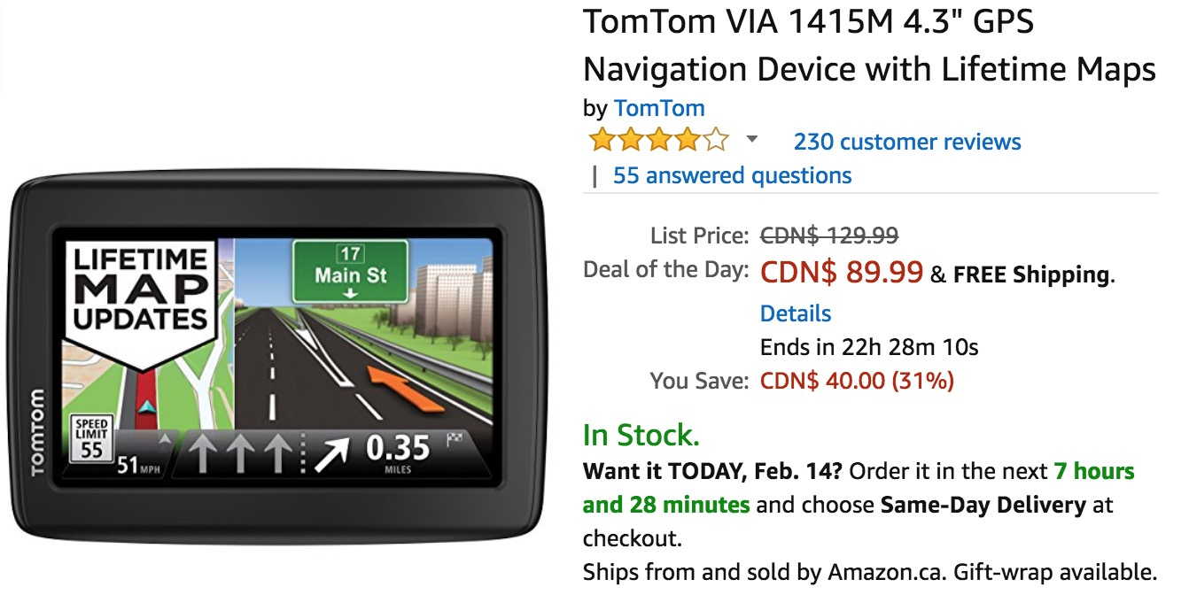 amazon canada deals of the day save 31 off tomtom via 4 3 gps navigation device with lifetime. Black Bedroom Furniture Sets. Home Design Ideas