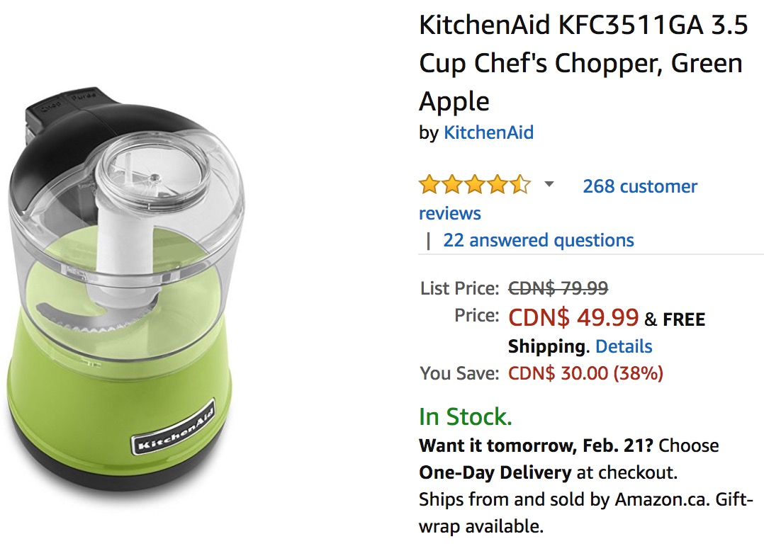 Amazon canada deals save 38 on kitchenaid 3 5 cup chef s chopper canadian freebies coupons - Kitchenaid chefs chopper ...