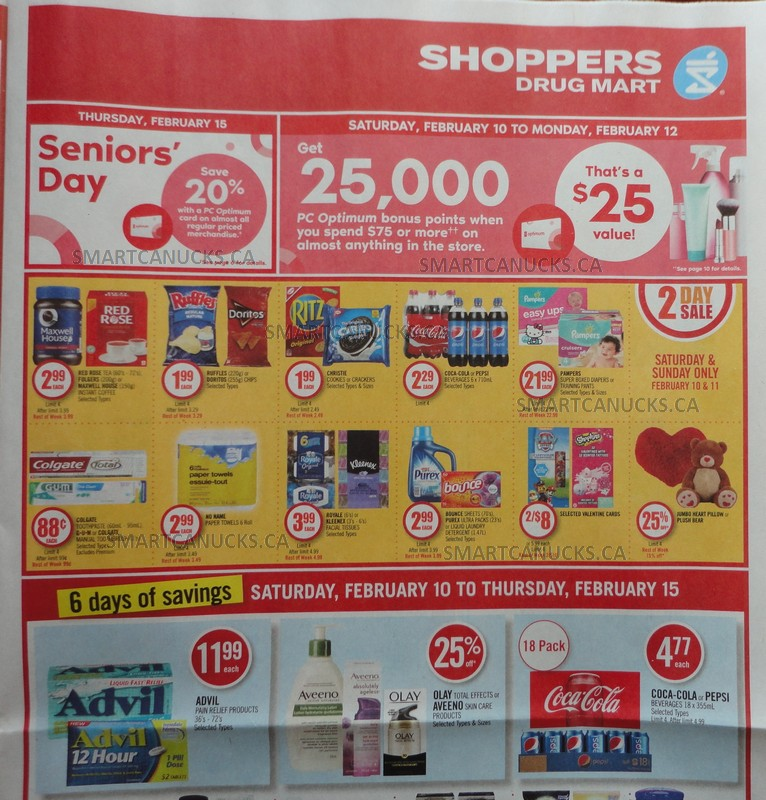 Shoppers Drug Mart Flyer Sneak Peek: Get 25,000 PC Optimum Points When You Spend $75 February 10th – 12th