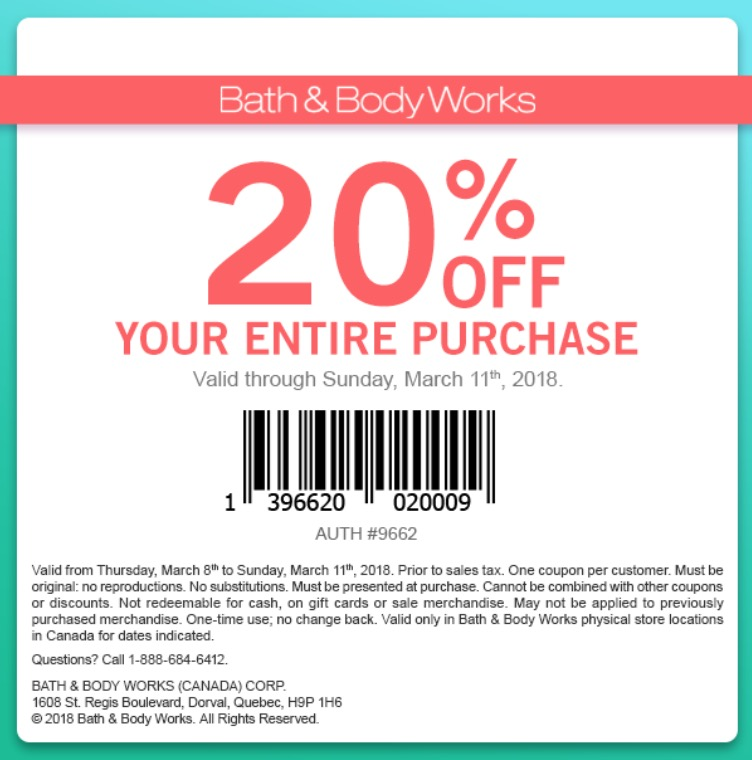 Bath and body coupons 20 off