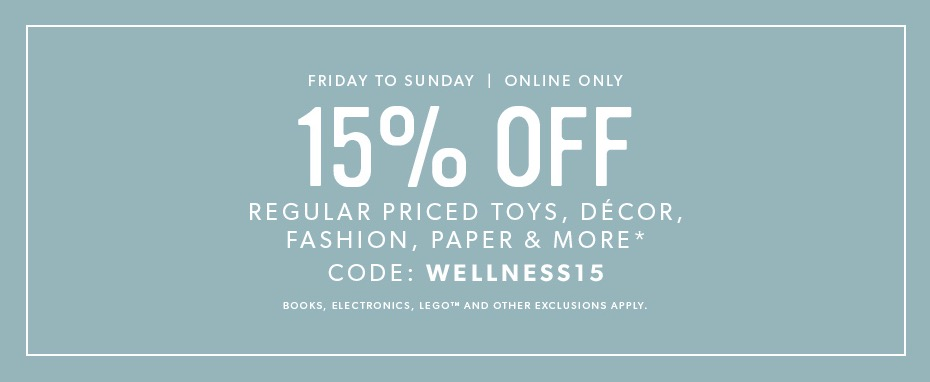 Indigo Canada Coupon Code Deal: Save 15% Off Regular Priced Items This Weekend Online Only