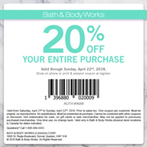 Bath & Body Works Canada Coupons: Save 20% off your Entire Purchase