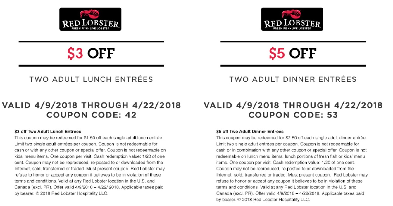 Red lobster canada coupons august 2018