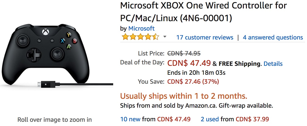 Amazon Canada Deals Of The Day: Save 37% on Microsoft XBOX One Wired ...