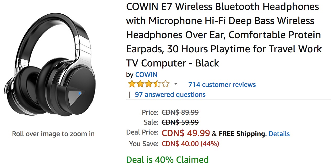 amazon canada deals save 44 on cowin e7 wireless bluetooth headphones with microphone hi fi. Black Bedroom Furniture Sets. Home Design Ideas