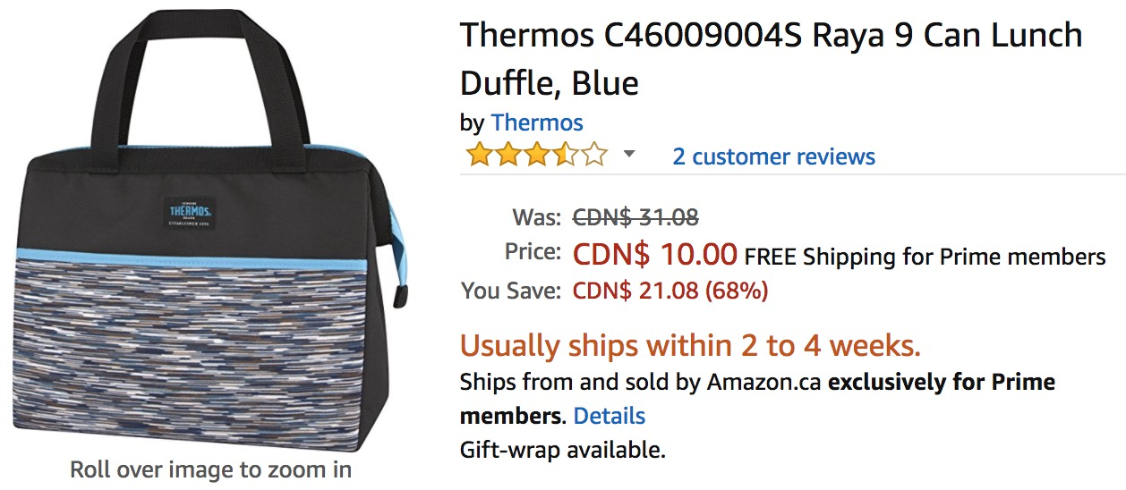 0f08cd5f36c4 Amazon Canada Deals: Save 68% on Thermos Raya 9 Can Lunch Duffle ...