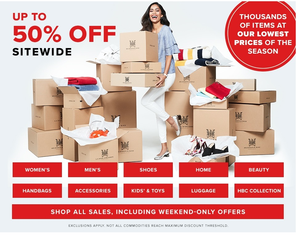 Hudson's Bay Canada Deals: FREE Shipping Today Only + Big Bay Days Deals Save up to 50% off Sitewide
