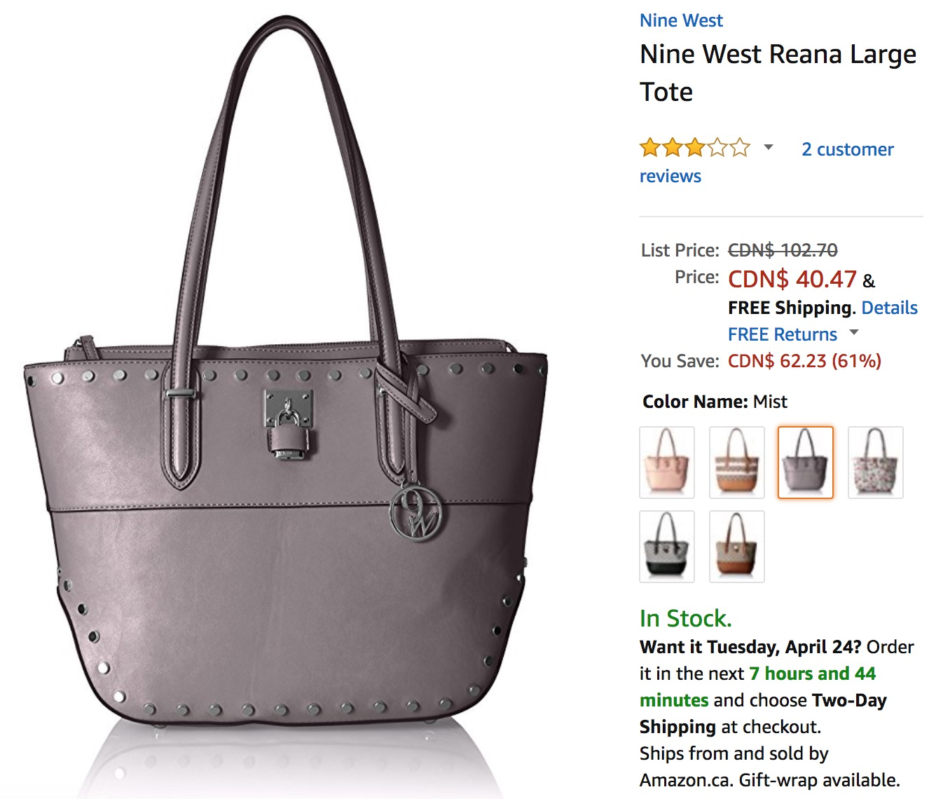Amazon Canada Deals: Save 61% on Nine West Reana Large Tote