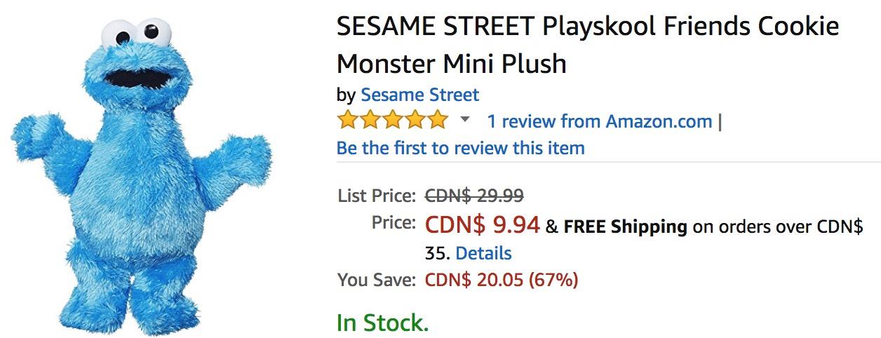 Amazon Canada Deals: Save 67% on Sesame Street Playskool Friends Cookie Monster Mini Plush & 25% on Play-Doh Kitchen Creations Frozen Treats