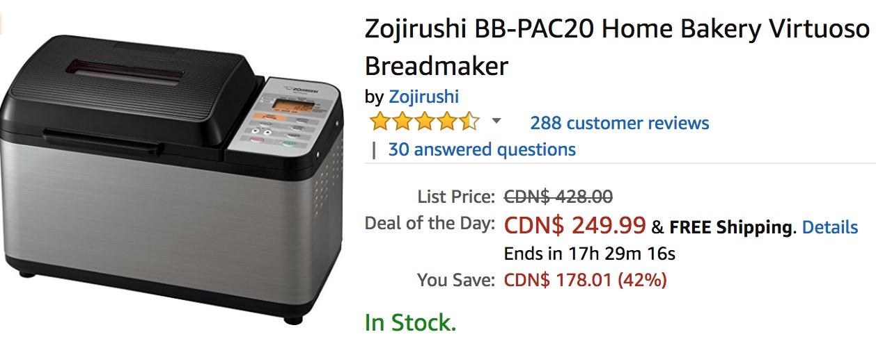 Amazon Canada Deals Of The Day: Save 42% on Zojirushi Home Bakery Virtuoso Breadmaker