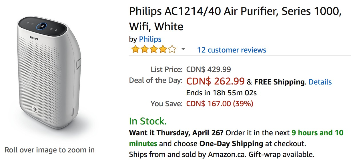 Amazon Canada Deals Of The Day: Save 39% on Philips Air Purifier & Save 26% on Bluedio V Pro Patented Drivers Wireless Bluetooth Headphones