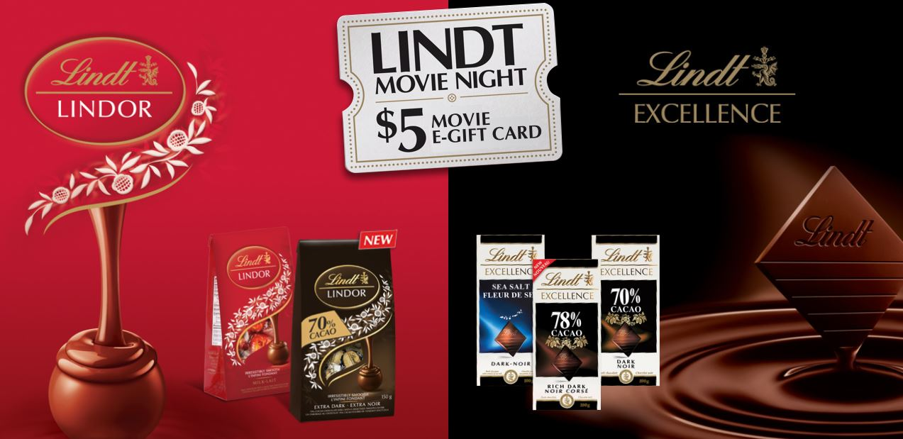 Lindt Canada: Get A $5 Movie E-Gift Card When You Purchase Two