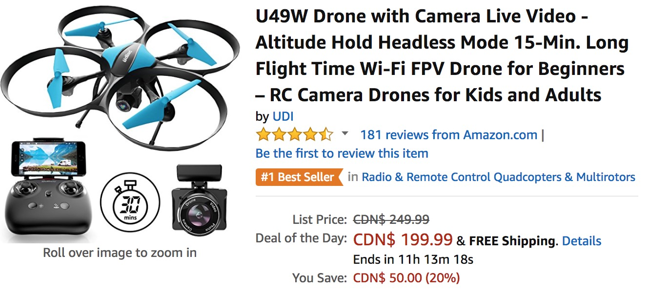Amazon Canada Deals Of The Day: Save 23% off Select Drones