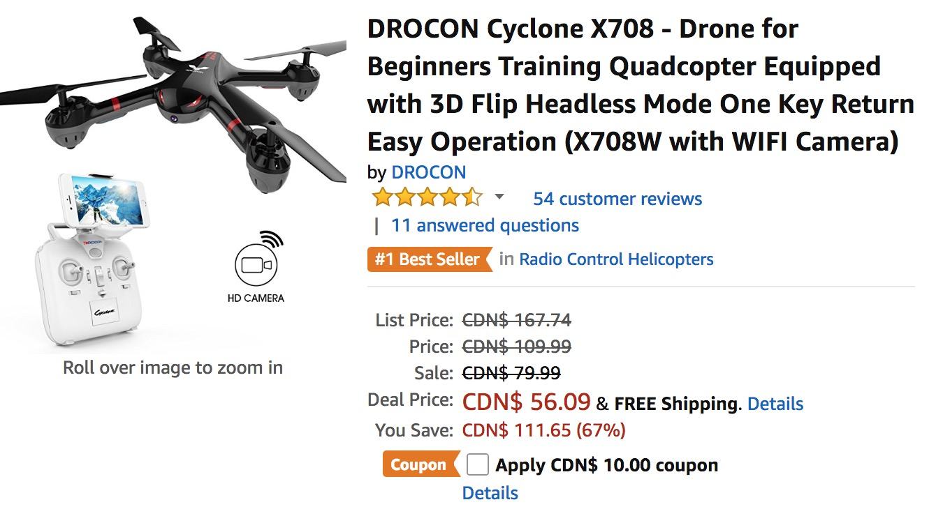 Amazon Canada Deals: Save 73% off DROCON Cyclone X708 – Drone for Beginners Training Quadcopter, now for $46.09, with Coupon