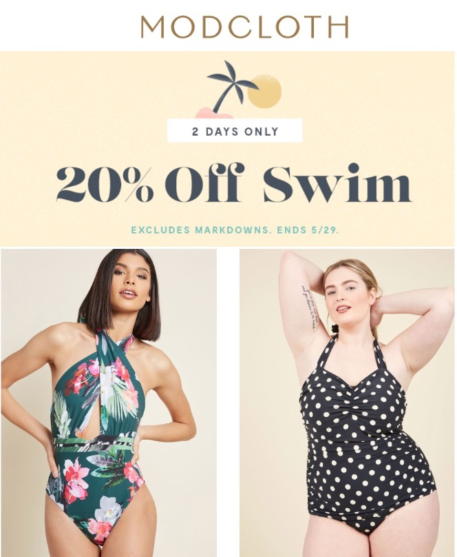 e3f5bd9a0b Modcloth Canada Flash Sale: Save 20% off All Swimwear | Canadian ...