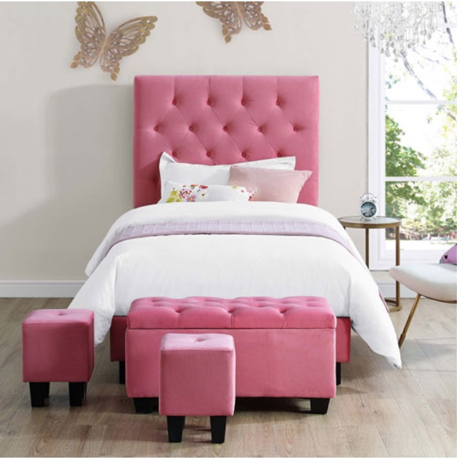 Best Buy Canada Online Sale Save 50 On Faith Contemporary Upholstered Kids Bed With Storage Ottomans FREE Shipping Extra 25 100 Off Baby Gear