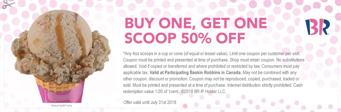 b7a095170d Baskin Robbins Canada July Coupons   3 off Any Cake + Buy One Get One Scoop  50% off