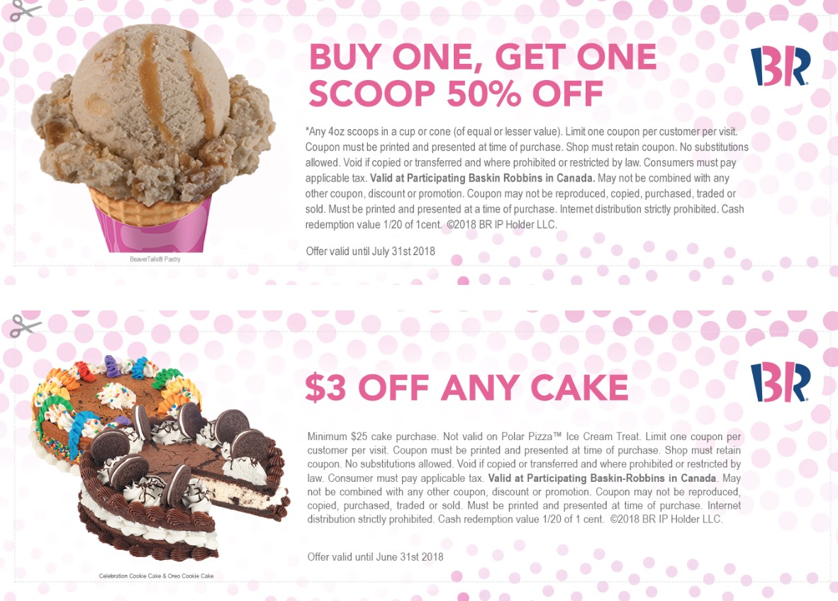 picture about Baskin Robbins Printable Coupons identify Baskin Robbins Canada July Discount codes: $1 off Fresh Sundae Shake