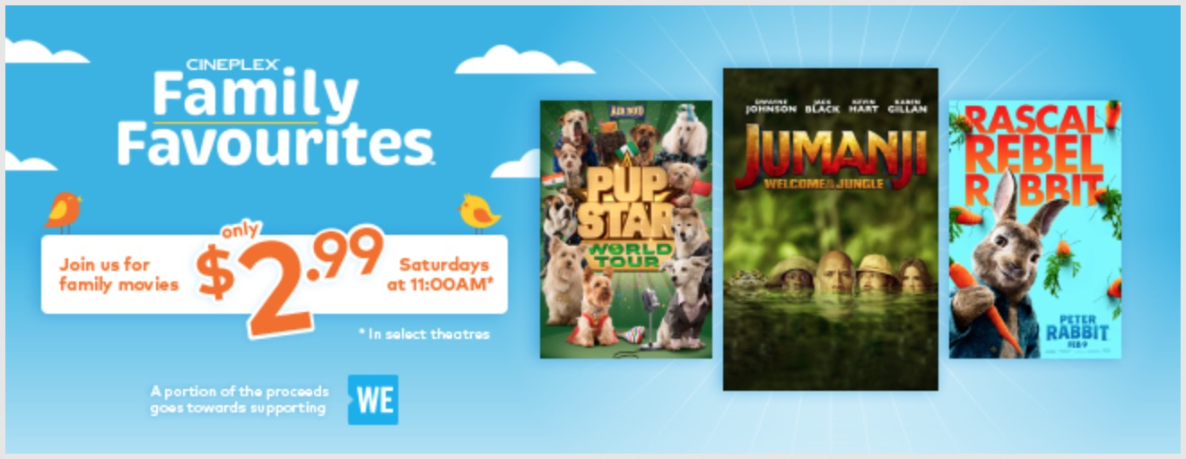 Cineplex Canada Family Favourites NEW 🔥 Schedule For July, August & September, Watch a Film for Only $2.99!