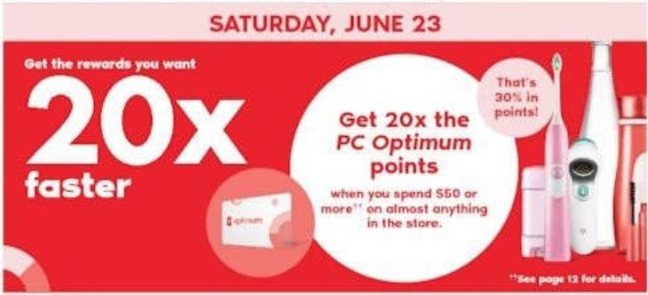 Shoppers Drug Mart Canada: Get 20x The PC Optimum Points + 2