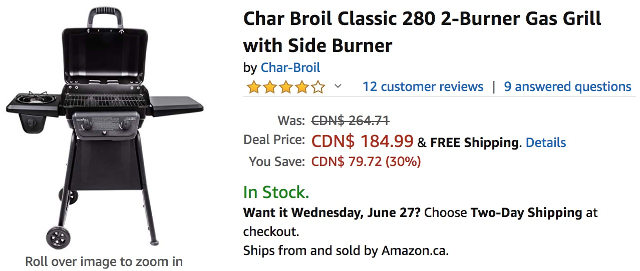 Amazon Canada Deals: Save 30% on Char Broil Classic 2-Burner Gas Grill & 54% on Camco Handy Mat
