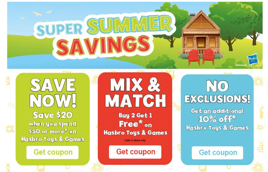 graphic relating to Toy R Us Coupon Printable named Toys R Us Canada: Hasbro Tremendous Summertime Printable Discount coupons