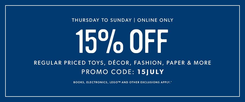 Indigo Canada Weekend Deal: Save 15% Off Using Promo Code