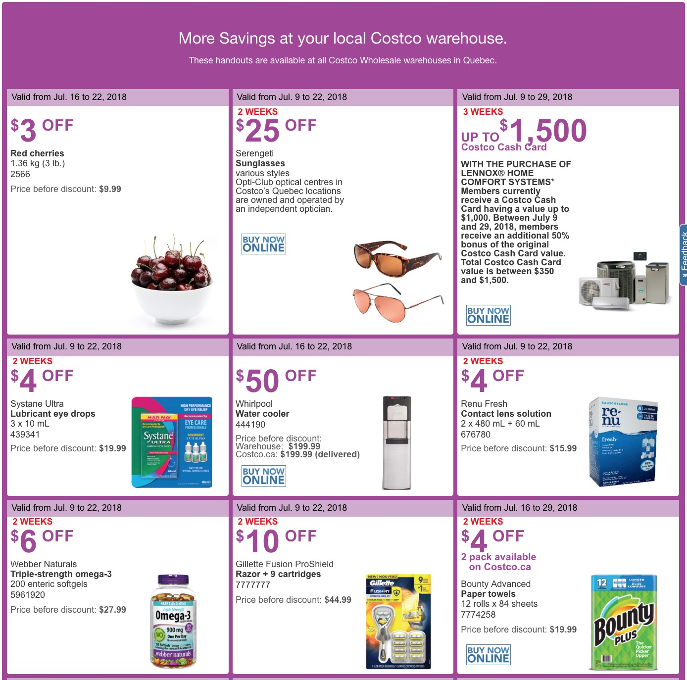 0e762b1cc9 These handouts are valid at Costco warehouses in Quebec. Costco Quebec  handouts are valid from July 16