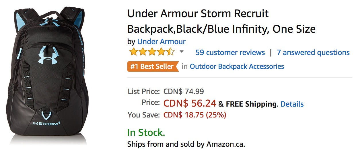 c8d498333e Amazon Canada Deals  Save 25% off Under Armour Storm Recruit Backpack