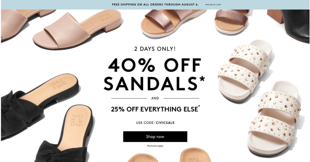 c30784accdc4 Naturalizer Canada Long Weekend Promo Code Sale  Save 40% Off Sandals and  25% off Everything Else + FREE Shipping on All Orders