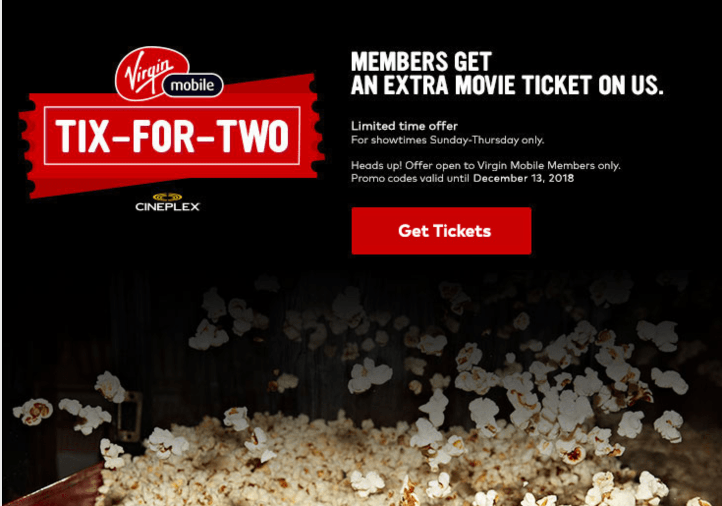 Virgin Mobile Canada Promotion: Cineplex Buy One, Get One