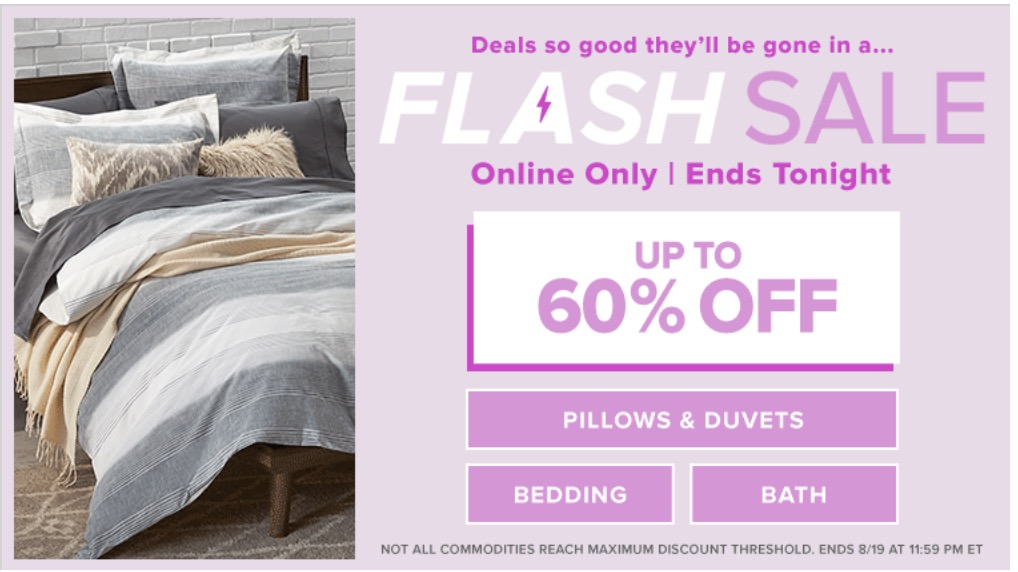 Hudson's Bay Canada Online Flash Sale: Save up to 60% off Pillows & Duvets, Bedding & Bath + Extra 15% Off Home Items with Promo Code, Today