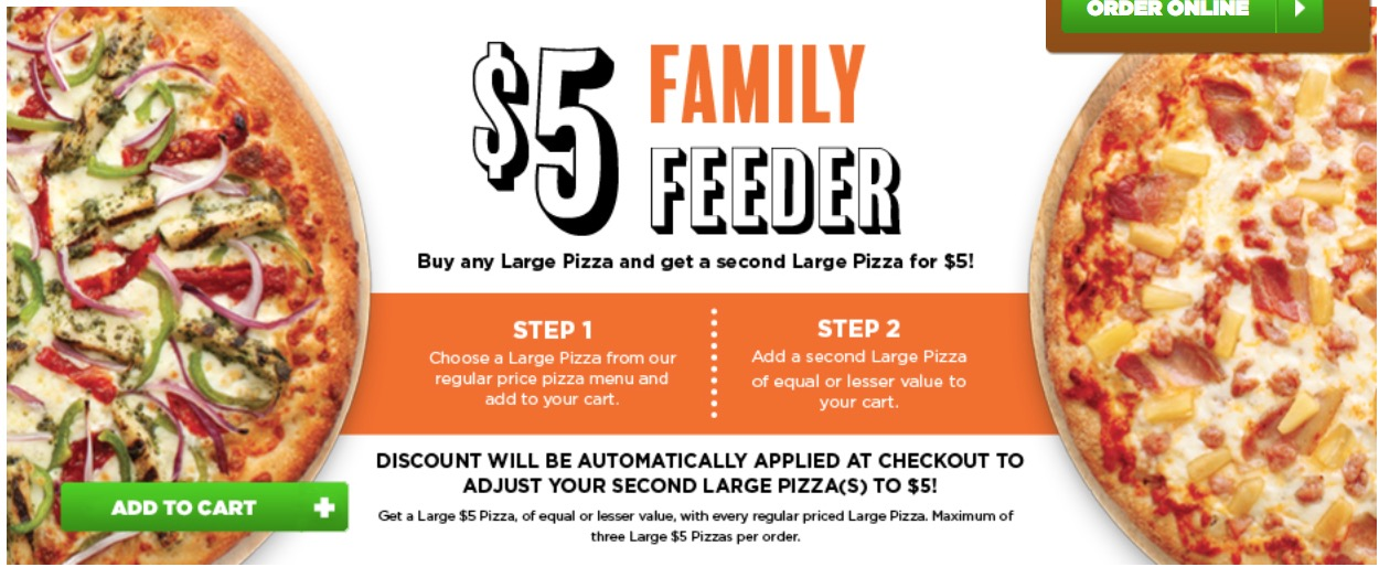 Pizza Pizza Canada Offers Buy Any Large Pizza Get Second Large For