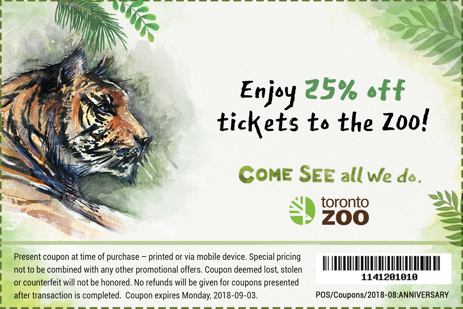 Toronto Zoo 15% off New memberships and renewals Mar1-Mar17