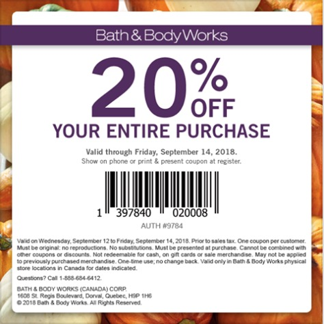 Bath & Body Works Canada New Coupon: Save 20% Off Your ...