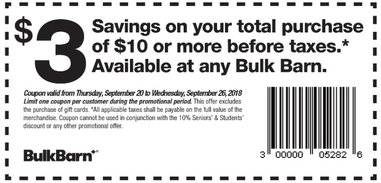Bulk Barn Canada Coupons: Save $3 Off your Total Purchase of $10