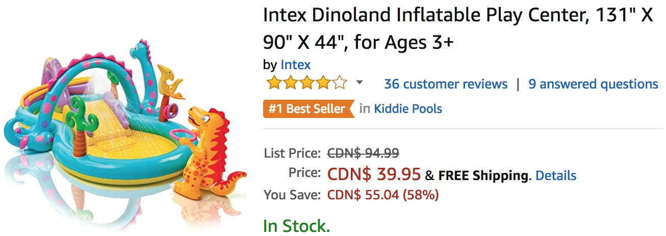 Amazon Canada Deals: Save 58% on Intex Dinoland Inflatable