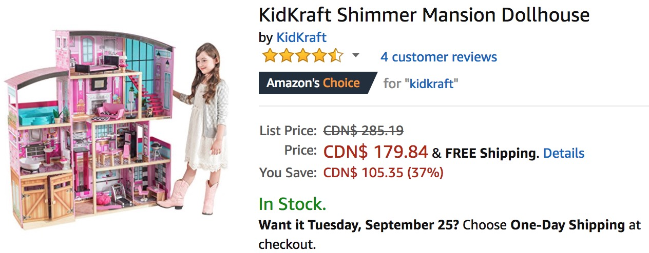 Amazon Canada Deals Save 37 On Kidkraft Shimmer Mansion Dollhouse