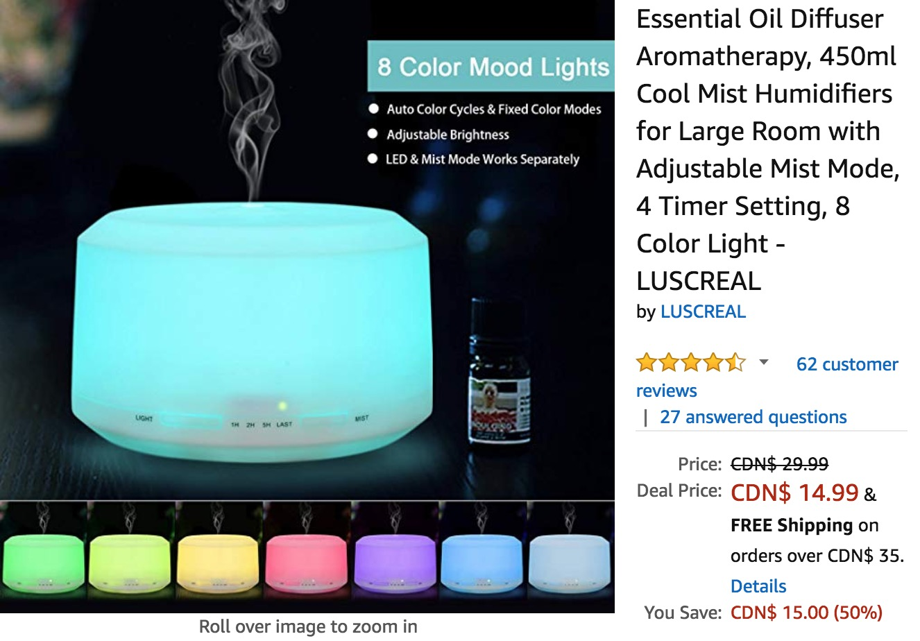 Amazon Canada Deals: Save 50% on Essential Oil Diffuser