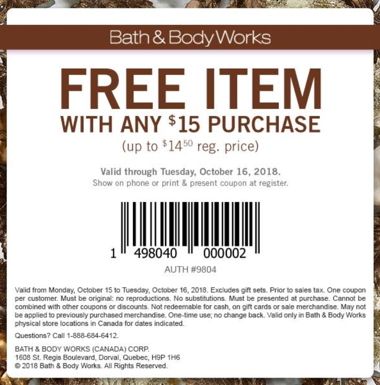 Bath & Body Works Canada Coupon: FREE Item with Any $15