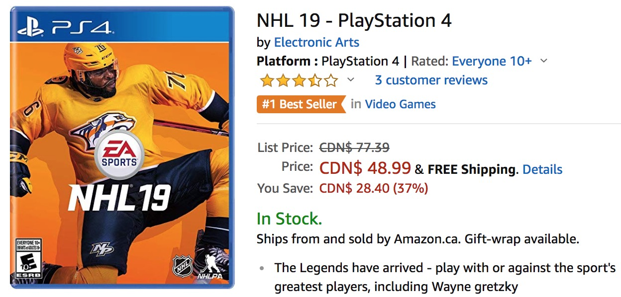 1b210efa1 Amazon Canada Deals: Get NHL 19 – PlayStation 4 or Xbox One for $48.99 –  Save 37% off