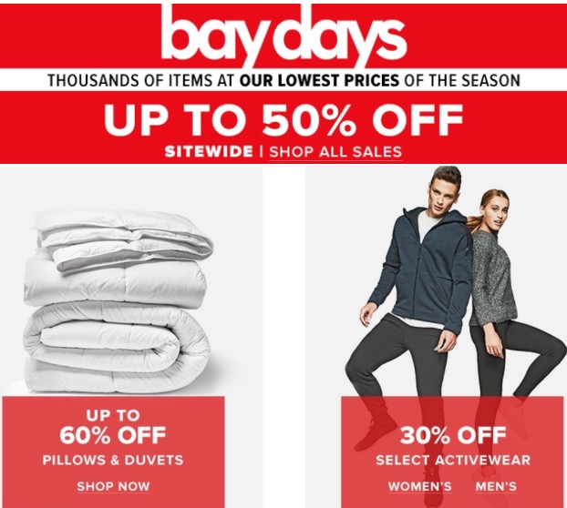 Hudson's Bay Canada Bay Days Sale: Save up to 50% Off Sitewide + 60% off Pillows & Duvets +30% off Activewear
