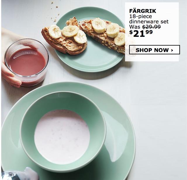 IKEA Canada Sale: Save 25% off All Dinnerware Sets.