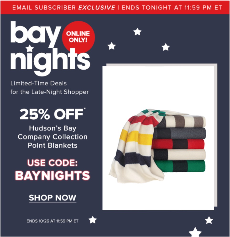 Hudson's Bay Canada Bay Nights Offer: Save 25% off Hudson's