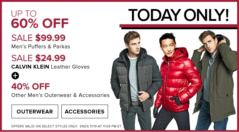 f0f4f56d6 Hudson's Bay Canada Pre-Black Friday Daily Deals: Save Up to 60% Off Men's  Puffers & Parka Jackets by Calvin Klein, Tommy Hilfiger & More