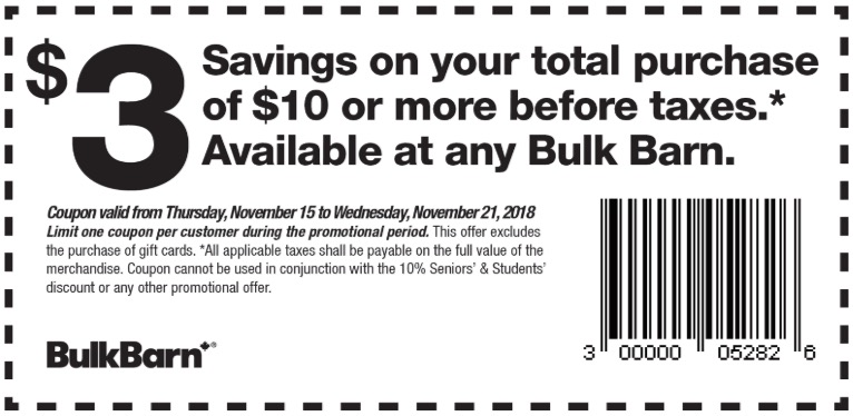 Bulk Barn Canada Coupons: Save $3 Off Your Total Purchase of $10 + FREE $5 Gift Card + 25% – 30% off Select Items